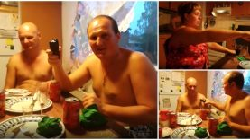 Apenas um momento de descontração (antes da sobremesa) num jantar de amigos russos… WTF!