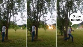 Atirador é surpreendido após disparar sobre um frigorífico cheio de explosivos… WTF!