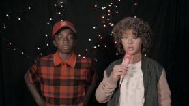 Stranger Things karaoke: Dustin and Lucas sing 80s movie classics – video